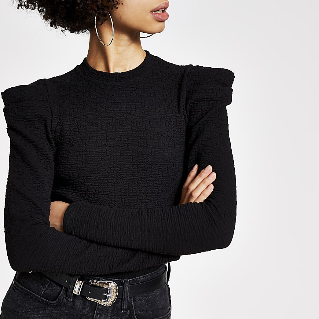 Black textured long puff sleeve top