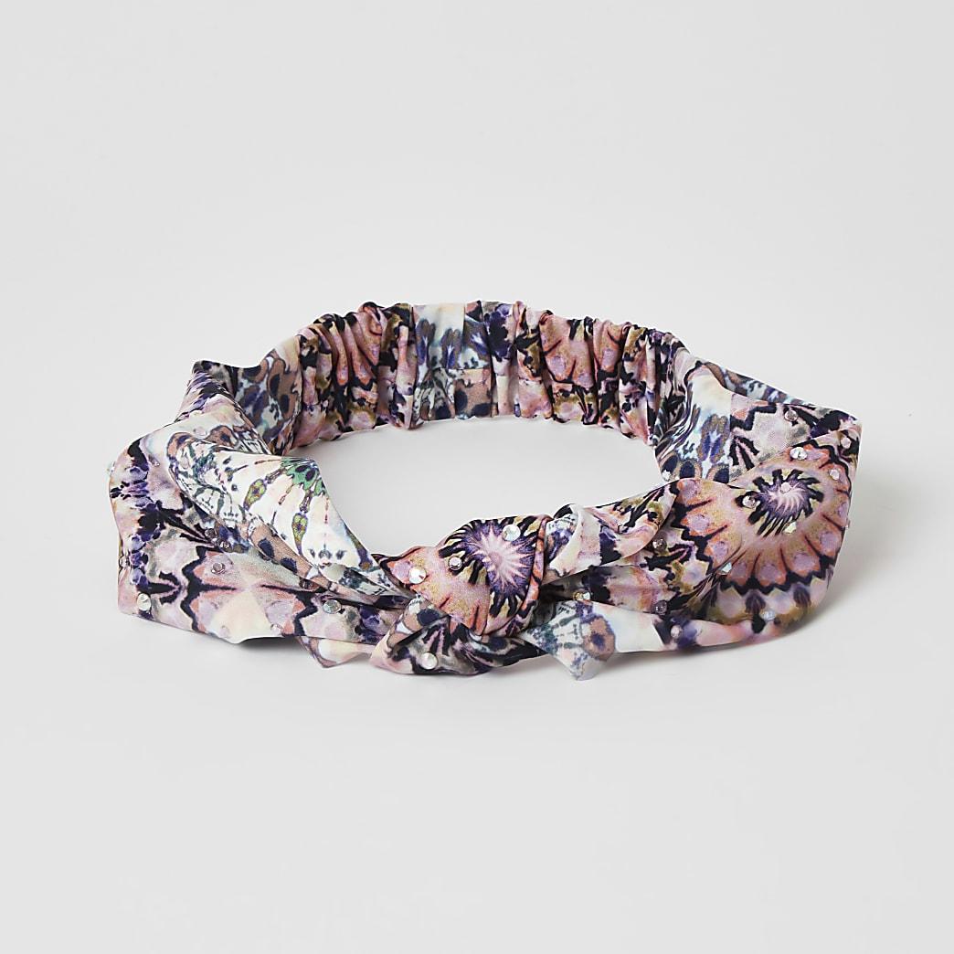 Pink tie dye diamante knot headband