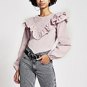 Pinke, langärmelige Bluse mit Rüschen vorne