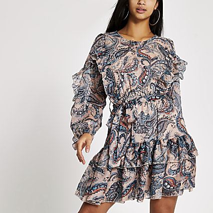 Petite blue paisley tie belted mini dress