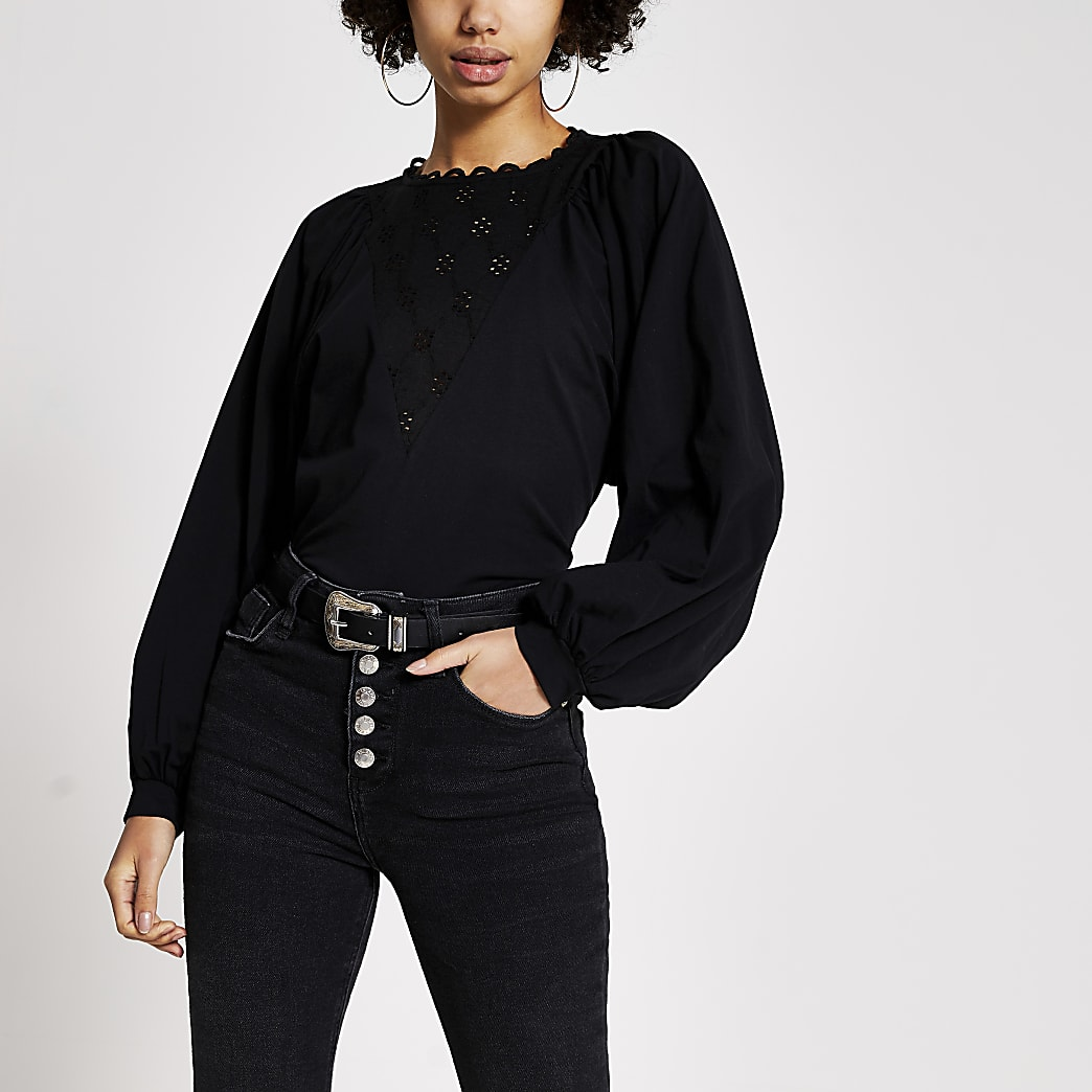 Black broderie long batwing sleeve T-shirt