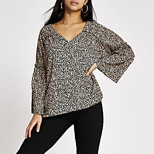 RI Petite- Gesmokte blouse met print en wijduitlopende mouwen