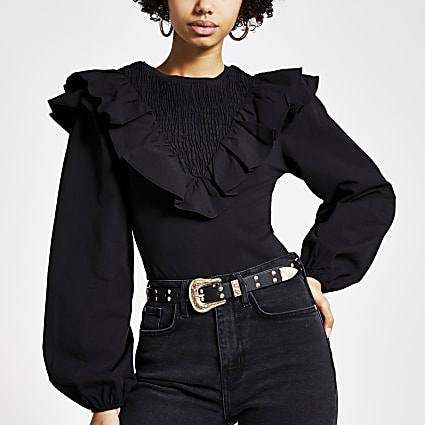 Black long sleeve frill front blouse