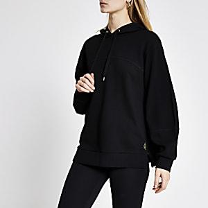 Zwarteloose-fit hoodie met lange mouwen