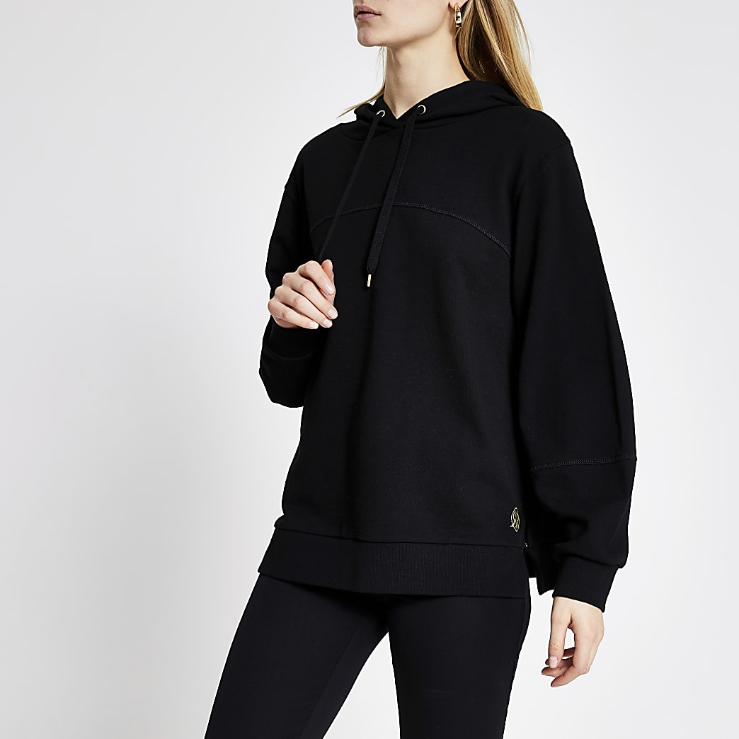 Black long sleeve loose fit hoodie