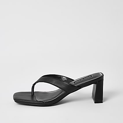 Black toe thong block heel sandals