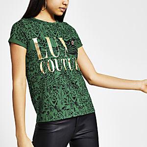 Groen T-shirt met dierenprint en korte mouwen
