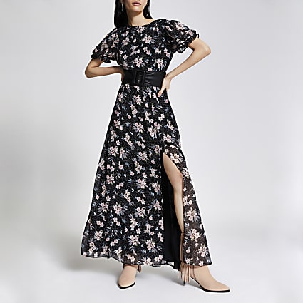 Black floral open back maxi dress