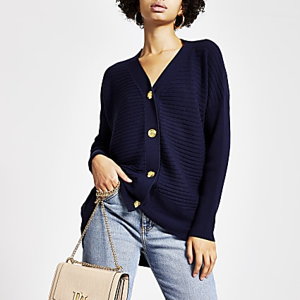 Navy button front ribbed knit cardigan