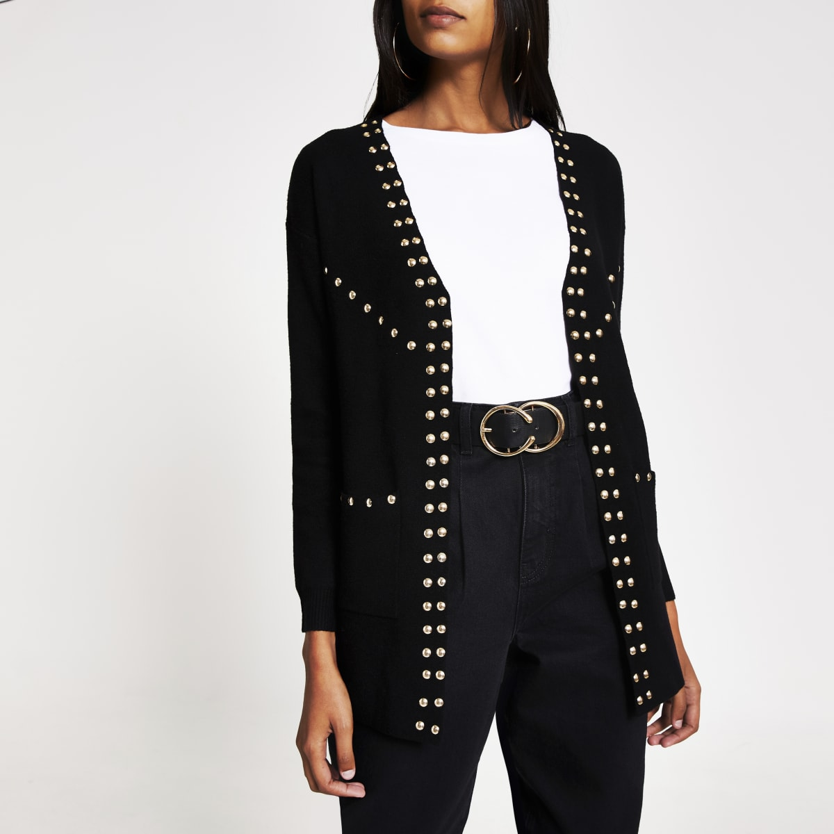 Black studded open front knitted cardigan