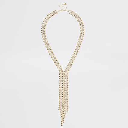 Gold bead and diamante paved Y necklace