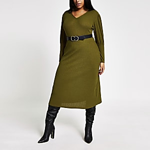RI Plus - Kaki geribbelde A-lijn midi-jurk met pofmouwen