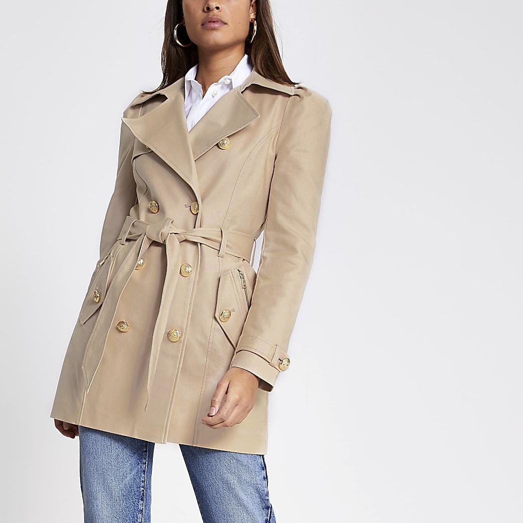 Beige puff sleeve trench coat