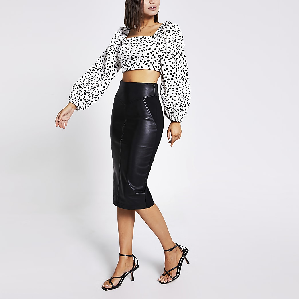 detailing first look great deals Black faux leather pencil skirt | River Island
