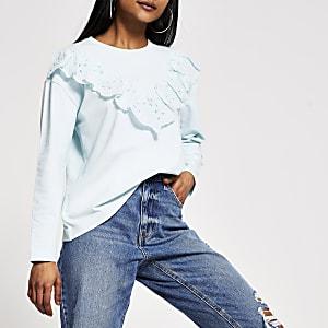 RI Petite- BlauwT-shirt met broderie en lange mouwen