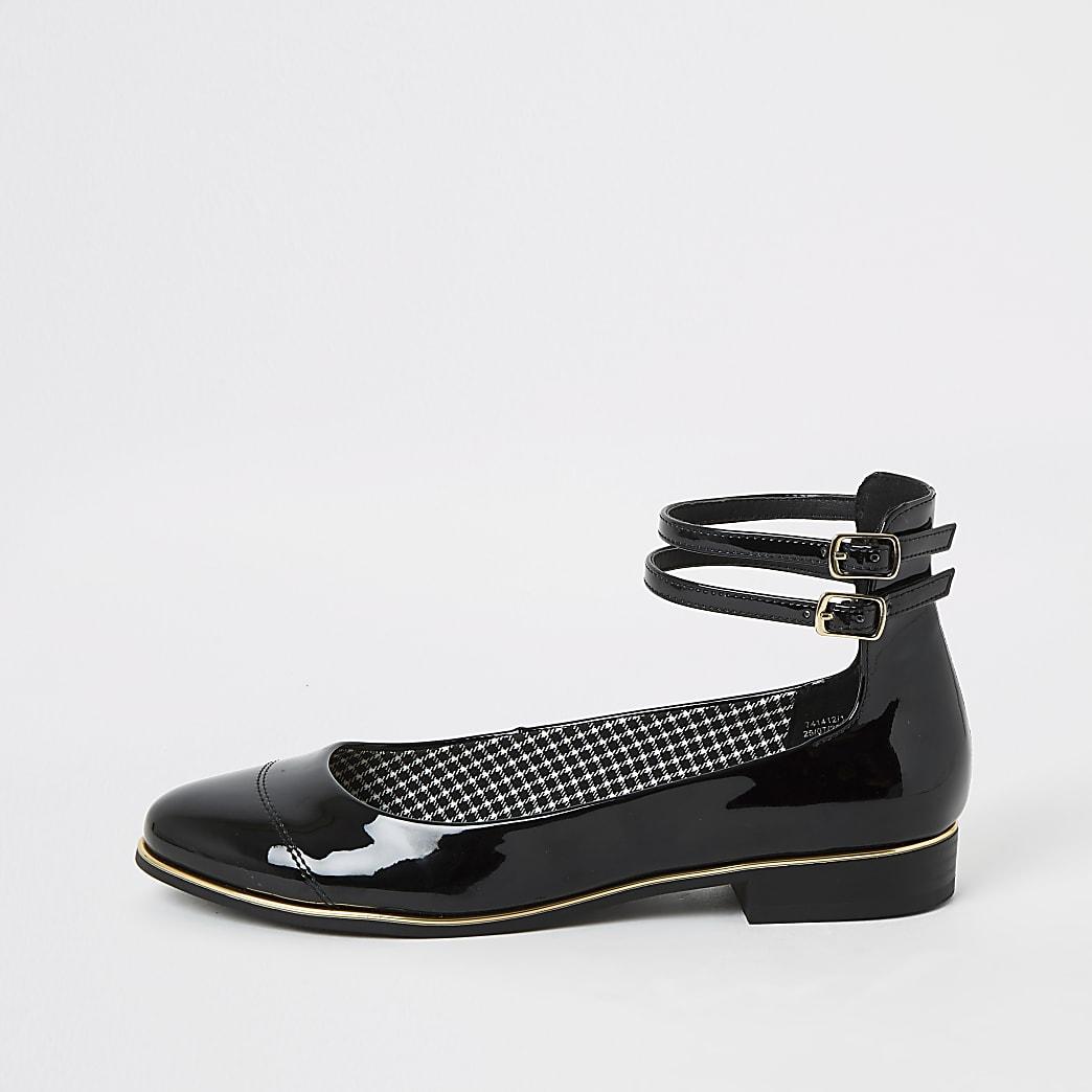 Black patent ankle strap ballet shoes