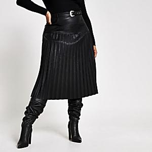 Plus – Jupe midi en cuir synthétique noire plissée