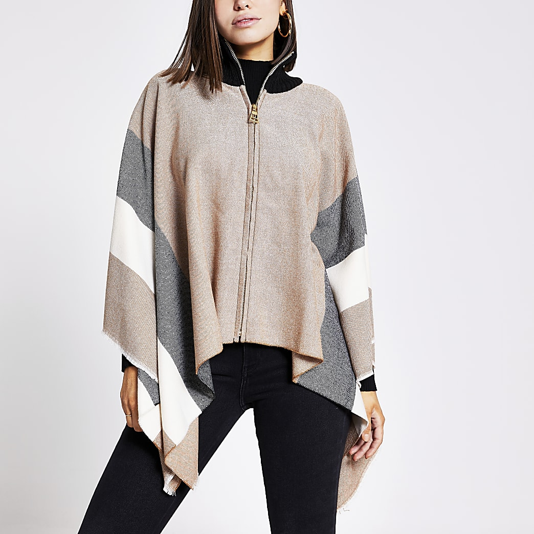 Brown colour blocked high neck knitted cape
