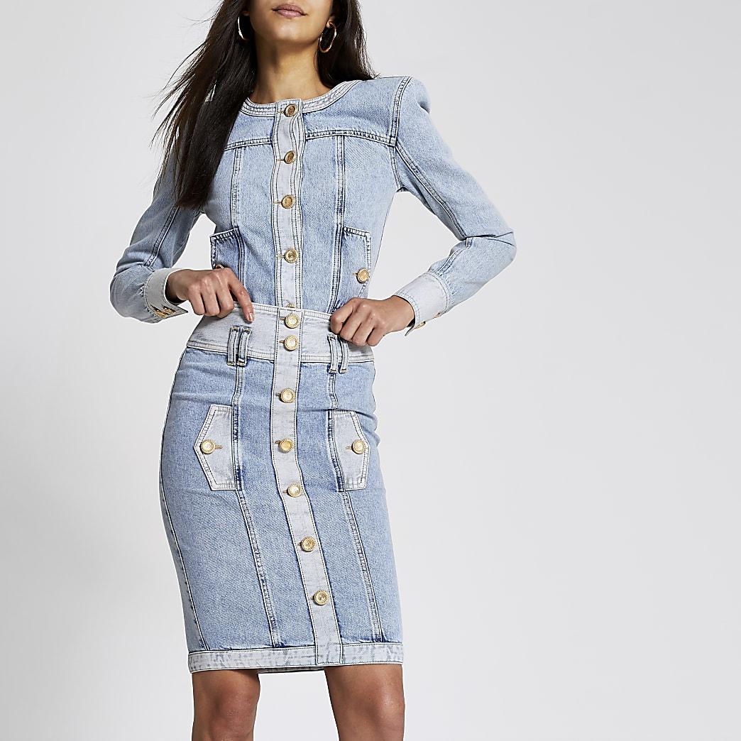 Jupe mi-longue taille haute boutonnée en denim bleu