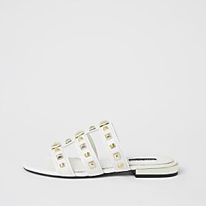 White caged studded flat sandal