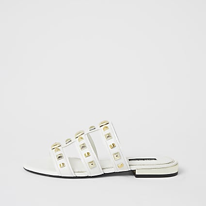 White caged studded flat sandal