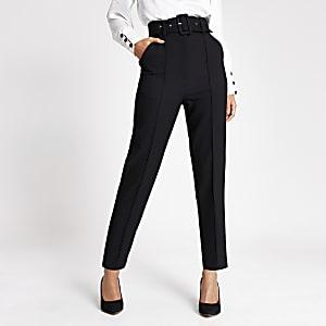 Pantaloncarotte noirà taille haute avec ceinture