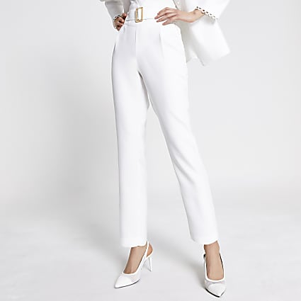Cream high belted waist tapered trousers