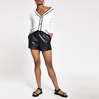 Black faux leather elasticated shorts