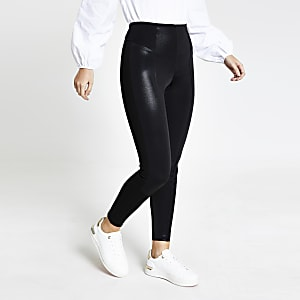 Zwarte legging met metallic coating