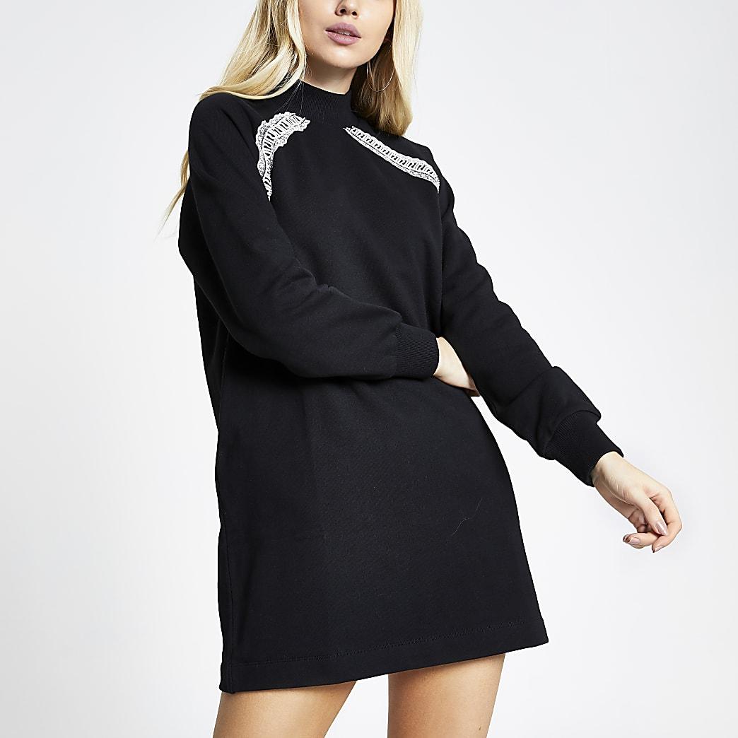 Schwarzes, langärmeliges Sweatshirt-Kleid mit RI-Band