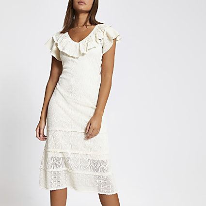 Cream frill pretty stitch knitted maxi dress