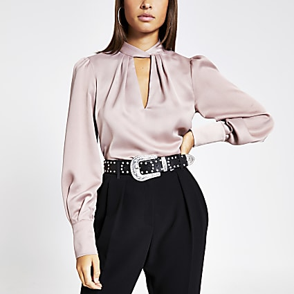 Pink twisted neck long sleeve blouse