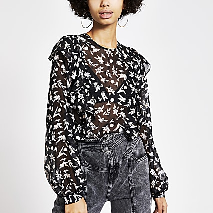 Black floral print frill front sheer blouse