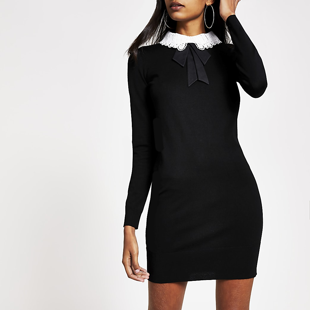 Black lace collar bodycon knitted mini dress