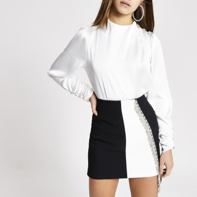Petite white diamante shoulder satin blouse