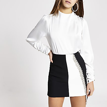 Petite white diamante shoulder satin blouse