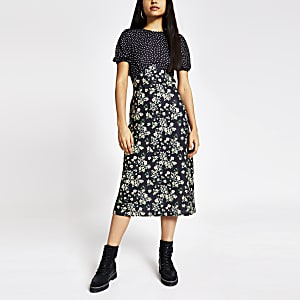 Black mixed print tie back midi dress