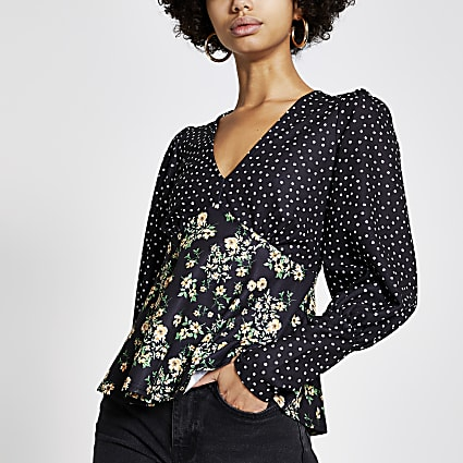 Black mixed print tie back V neck top
