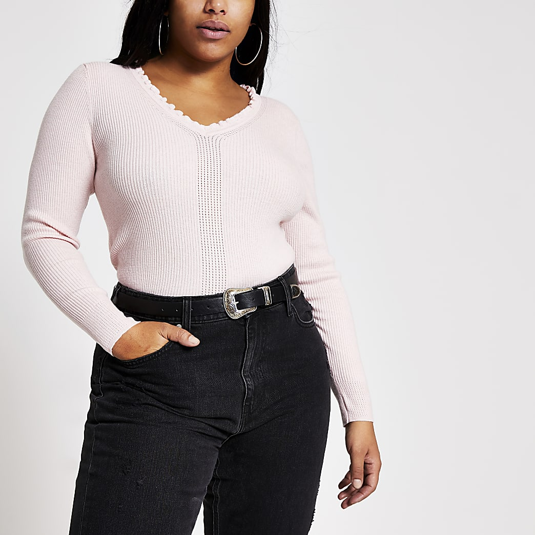 Plus pink frill V neck rib knitted jumper