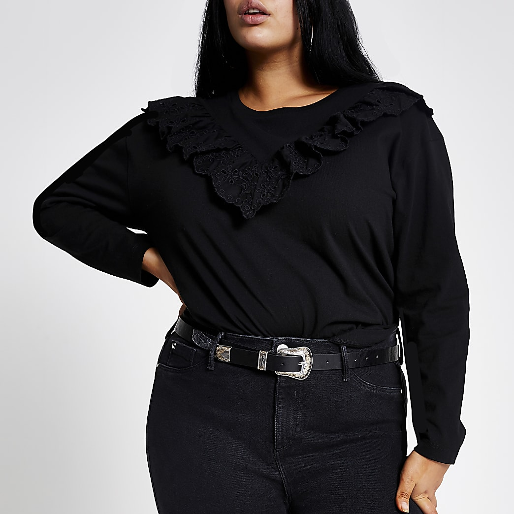 RI Plus -Zwart T-shirt met broderie, ruches en lange mouwen