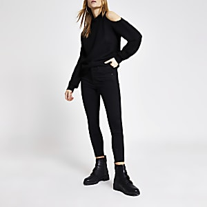 Zwarte schouderloze top met reliëf