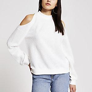 Strukturiertes Sweatshirt in Creme mit Schulterausschnitten