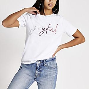 Petite – T-shirt blanc « Joyful » orné