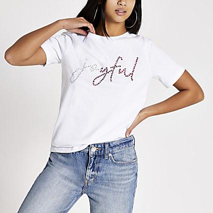 Petite white 'Joyful' embellished T-shirt