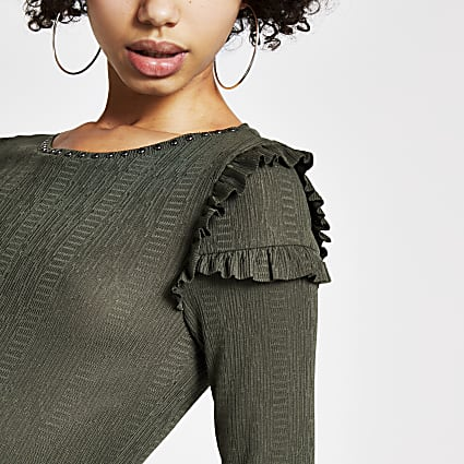 Khaki studded neck long sleeve frill top