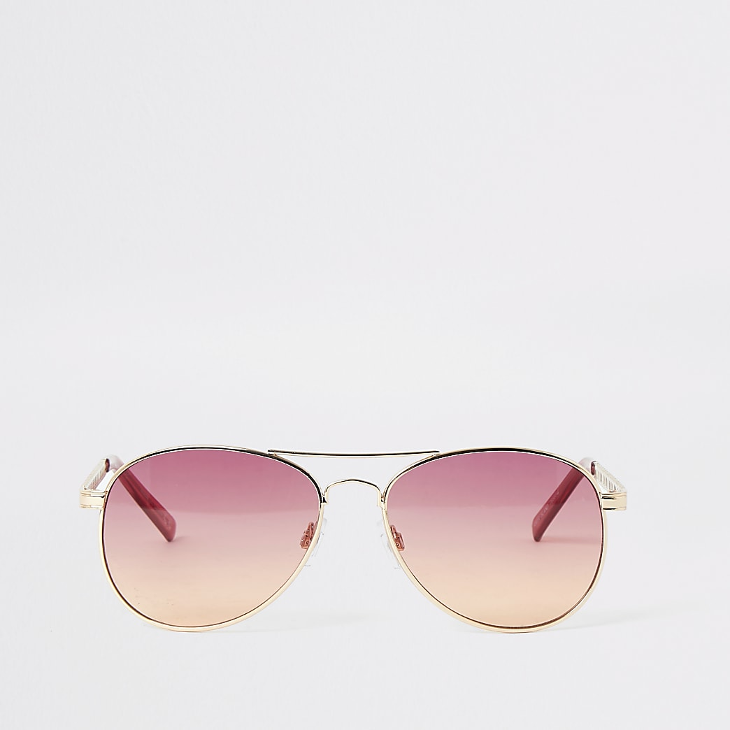 Gold chain arm pink aviator sunglasses