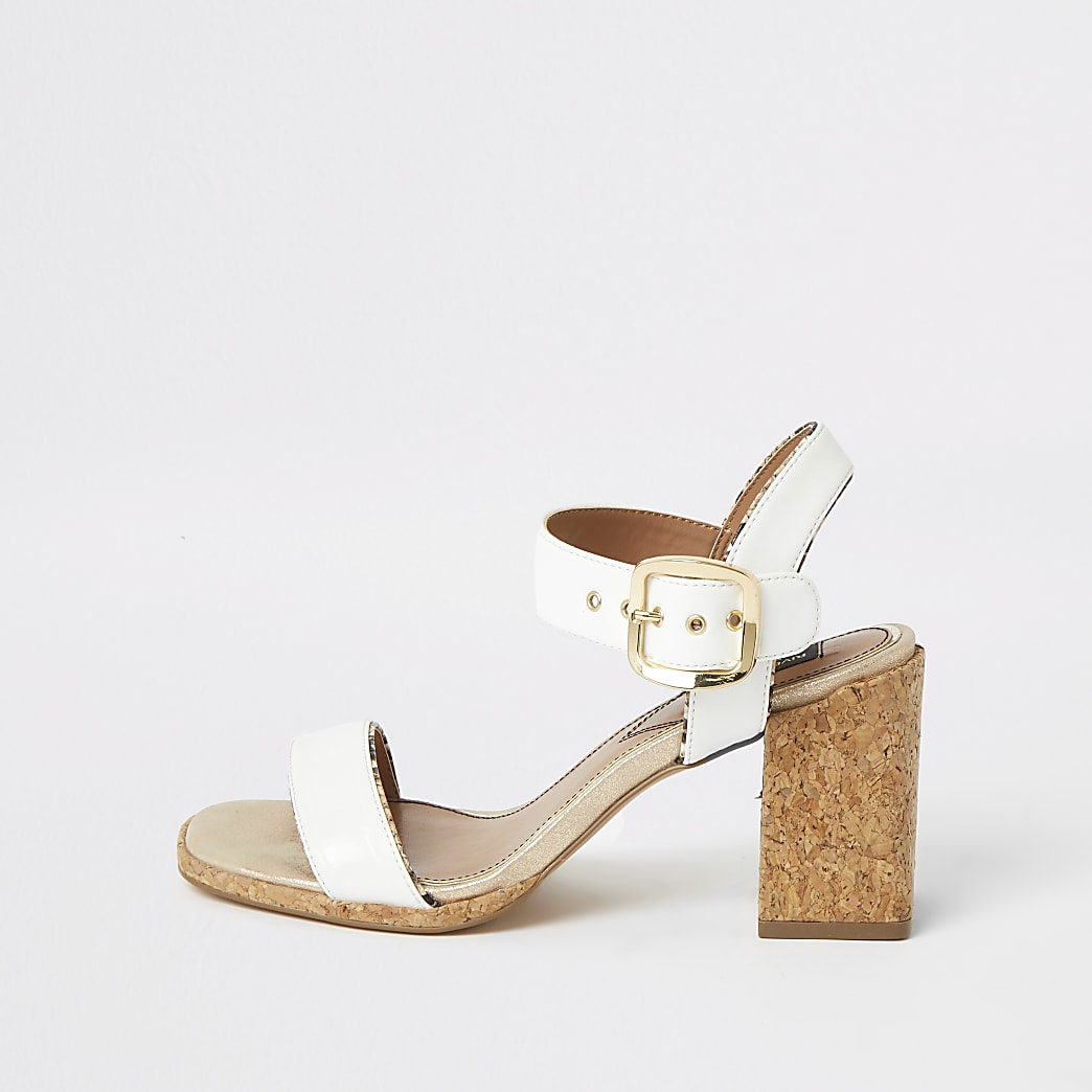 White two part wide fit block heel sandals