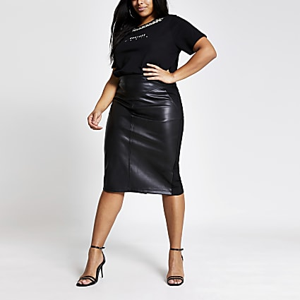 Plus black faux leather pencil midi skirt
