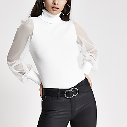Cream mesh sleeve roll neck jumper
