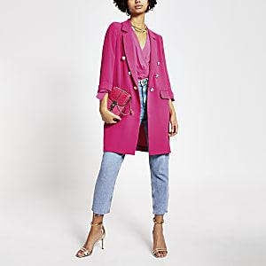 Roze lang blazerjack met knopen voor